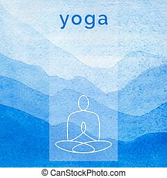 Poster for yoga class with a nature watercolor backdrop