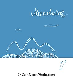 Poster forward to  mountains. Mountains vector logo.