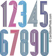 Poster geometric bright decorative striped numbers.