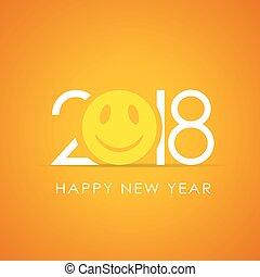 poster, glimlachen, 2018, jaar, nieuw, vrolijke