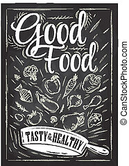 Poster good food with frying pan in which the products fly stylized drawing with chalk on blackboard. Vector 10.