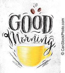 Poster good morning - Poster with yellow cups of coffee ...