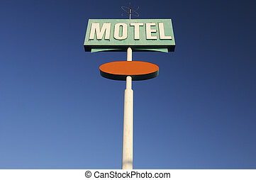 motel - poster green motel with blue sky