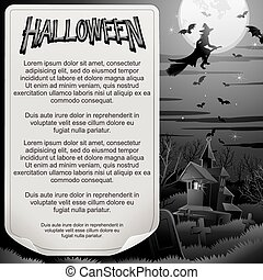 poster., halloween, bw, projektować, retro, gotowy
