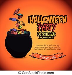 poster halloween party with cauldron design isolated