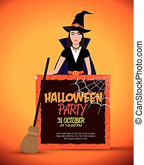 poster halloween party with witch isolated