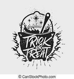 poster., halloween, tipografía, mano, truco, cauldron., inspirador, treat., dibujado, o