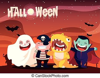 poster halloween with children disguised