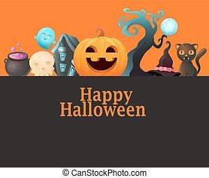 Poster Halloween with pumpkin
