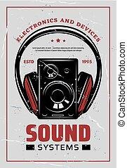 poster, headphones, muziek, systemen, hifi, retro
