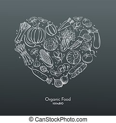 heart composition with hand drawn vegetables