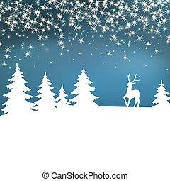 poster., hiver, noël, forest., arrière-plan., deer., année, nouveau, fée, blanc, paysage