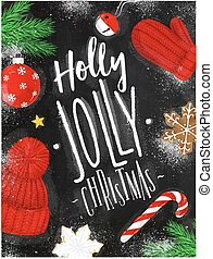 Poster holly jolly christmas chalk