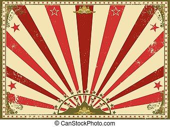 poster, horizontaal, circus, sunbeams, rood
