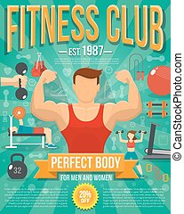poster, illustratie, fitness