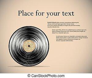 poster., illustration., 型, 抽象的, record., ベクトル, ビニール, retro., style.