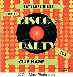 poster., illustration., cartaz, record., discoteca, vetorial, vinil, partido, design.