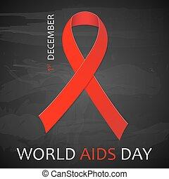 poster., illustration., dezember, vektor, welt, aids, tag