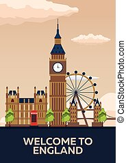poster., illustration., england., ベクトル, ロンドン, skyline., 旅行する