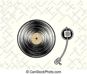 poster., illustration., player., 抽象的, record., ベクトル, ビニール, 型, style., レトロ
