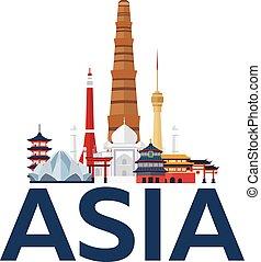 poster., illustration., vacation., viagem, modernos, country., vetorial, asia., flat., viajar, viagem