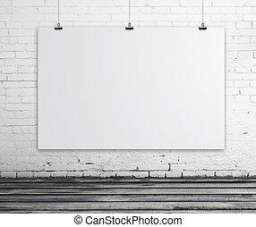 poster, in, kamer