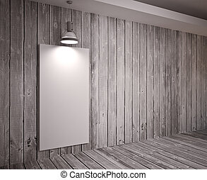 Poster in room - Banner on wooden wall with lamps, modern ...