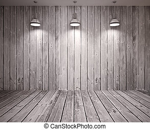 Poster in room - Banner on wooden wall with lamps, modern...