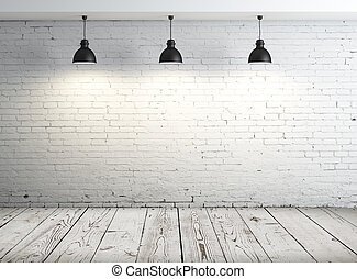 poster in room with ceiling lamp