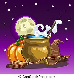 Poster in style of holiday all evil Halloween. Attributes of witchcraft and witch at midnight by the light of the moon. Copper pot with boiling water, hat, broom. Vector cartoon close-up illustration.