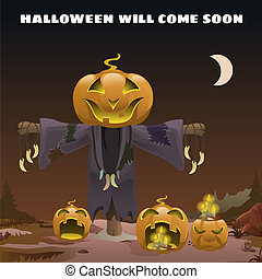 Poster in style of holiday all evil Halloween. Scarecrow with a head of pumpkin at midnight by the light of the moon. Jack-o-lantern with burning candles inside. Vector cartoon close-up illustration.