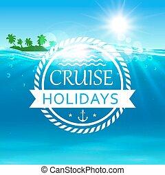 poster., isola, oceano, crociera, vacanze, onde