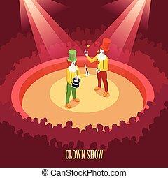 poster, isometric, circus, clowns, tonen