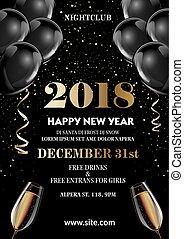poster, jaar, groet, flyer, 2018, mal, uitnodiging, nieuw,...