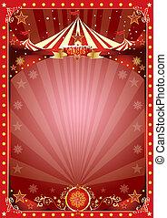 poster, kerstmis, circus