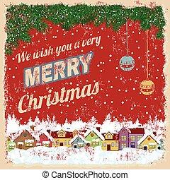 poster, kerstmis, vrolijk, retro