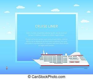 poster, kleur, lijntoestel, illustratie, vector, cruise
