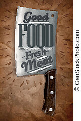 Poster knife for cutting meat in a retro style lettering with good food fresh meat on the background of brown crumpled paper. Vector