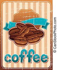 poster, koffie bonen, retro, style.