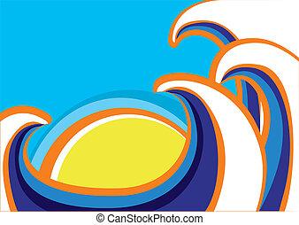 poster., kolor, abstrakcyjny, ilustracja, morze, fale