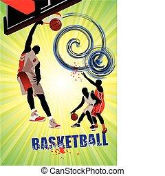 poster., koszykówka, wektor, illustra