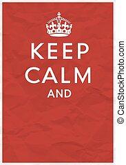 poster, kroon, kalm, bewaren