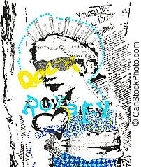 poster, kunst, vrouw, mode, knallen