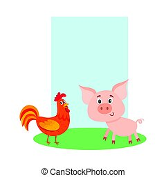 Poster, label, banner template with farm pig and red rooster