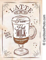 Poster latte kraft - Poster coffee latte in vintage style...
