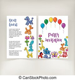 Poster, leaflet, invitation design with twisted balloon animals