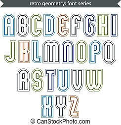 Poster light elegant font with outline. Contemporary vector colorful calligraphic letters isolated on white backdrop.