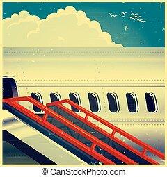 poster, lijnvliegtuig, retro, straalvliegtuig