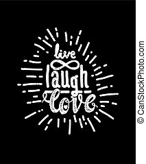 Poster live laugh love black