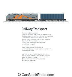 poster, locomotief, met, de container van de lading